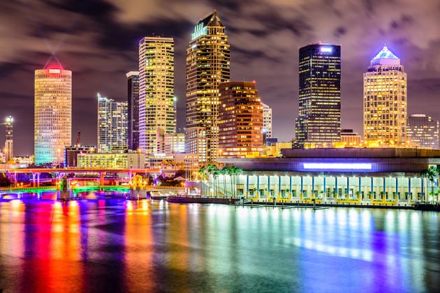 Tampa, Florida, USA downtown city skyline on the Hillsborough Ri