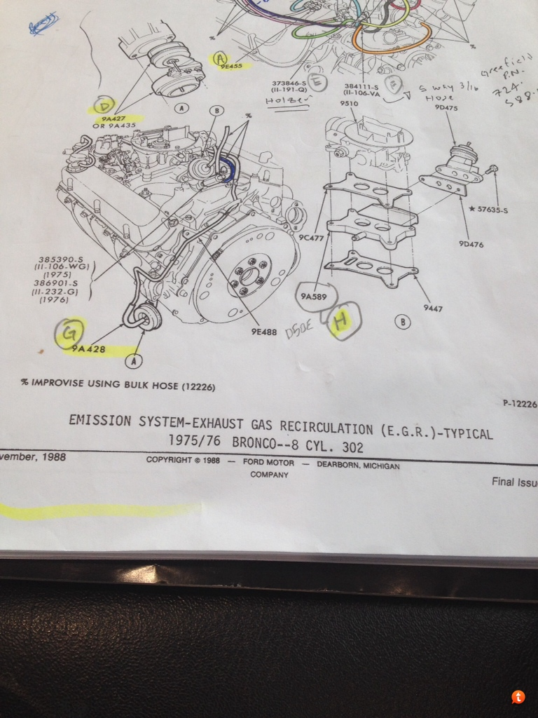 hight resolution of pic 1 came from the ford 74 thru 79 master parts catalog it appears that broncos from both 75 and 76 had the same vacuum routing