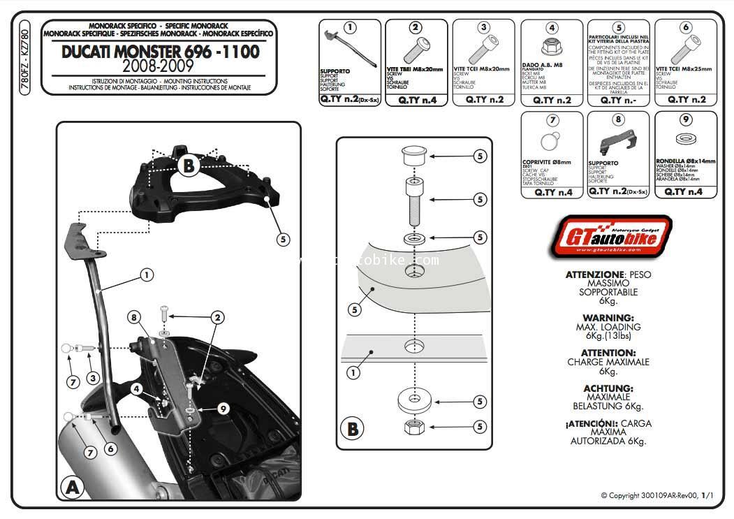GIVI 780FZ (Topbox Rear Rack for Monster 696 / 796 / 1100