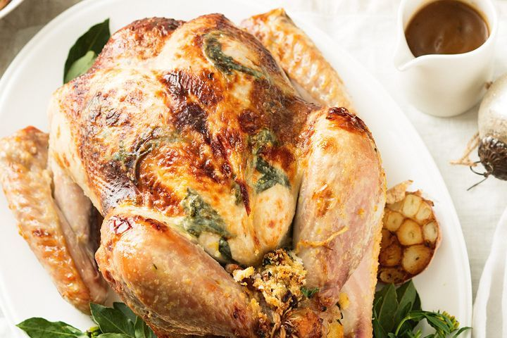 Roast turkey with bacon and tarragon stuffing