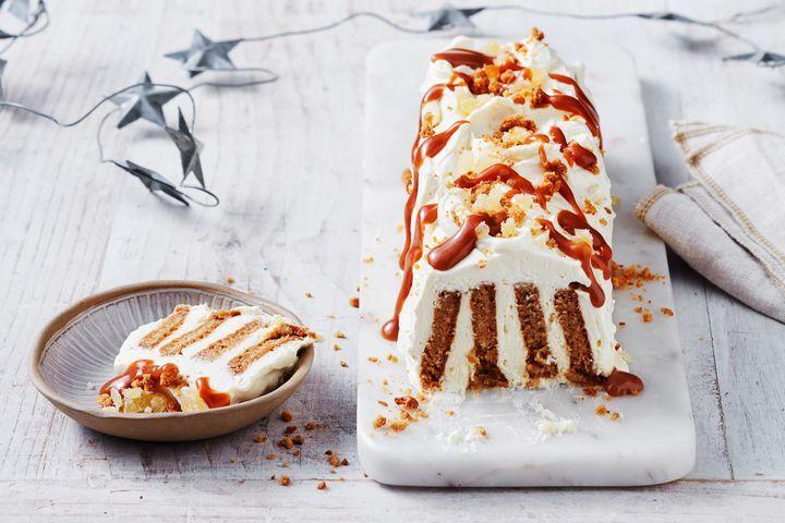 Ginger cream biscuit log