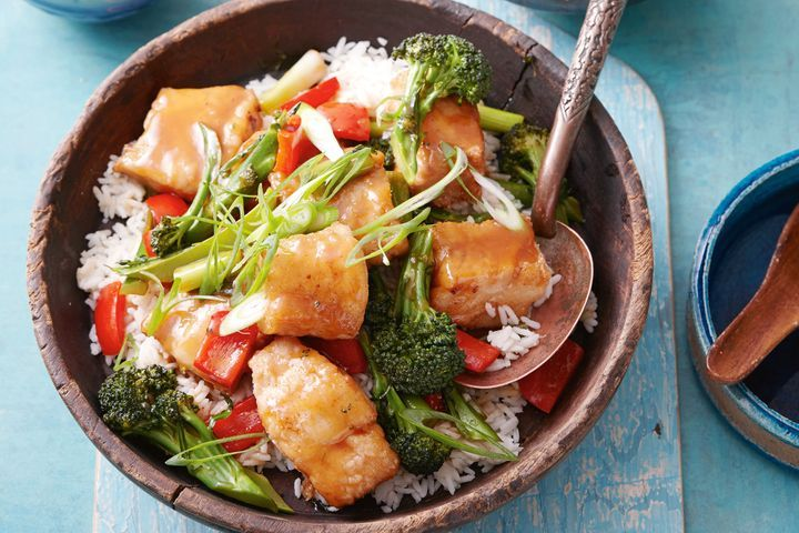 Crispy Chinese five-spice fish in plum sauce