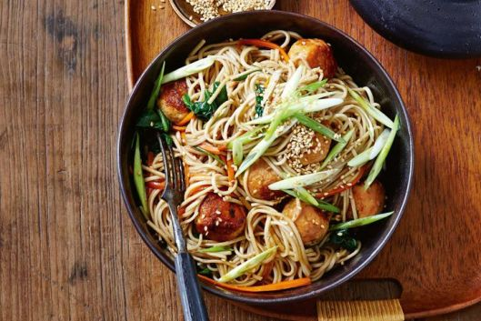 Teriyaki turkey meatball and soba stir-fry