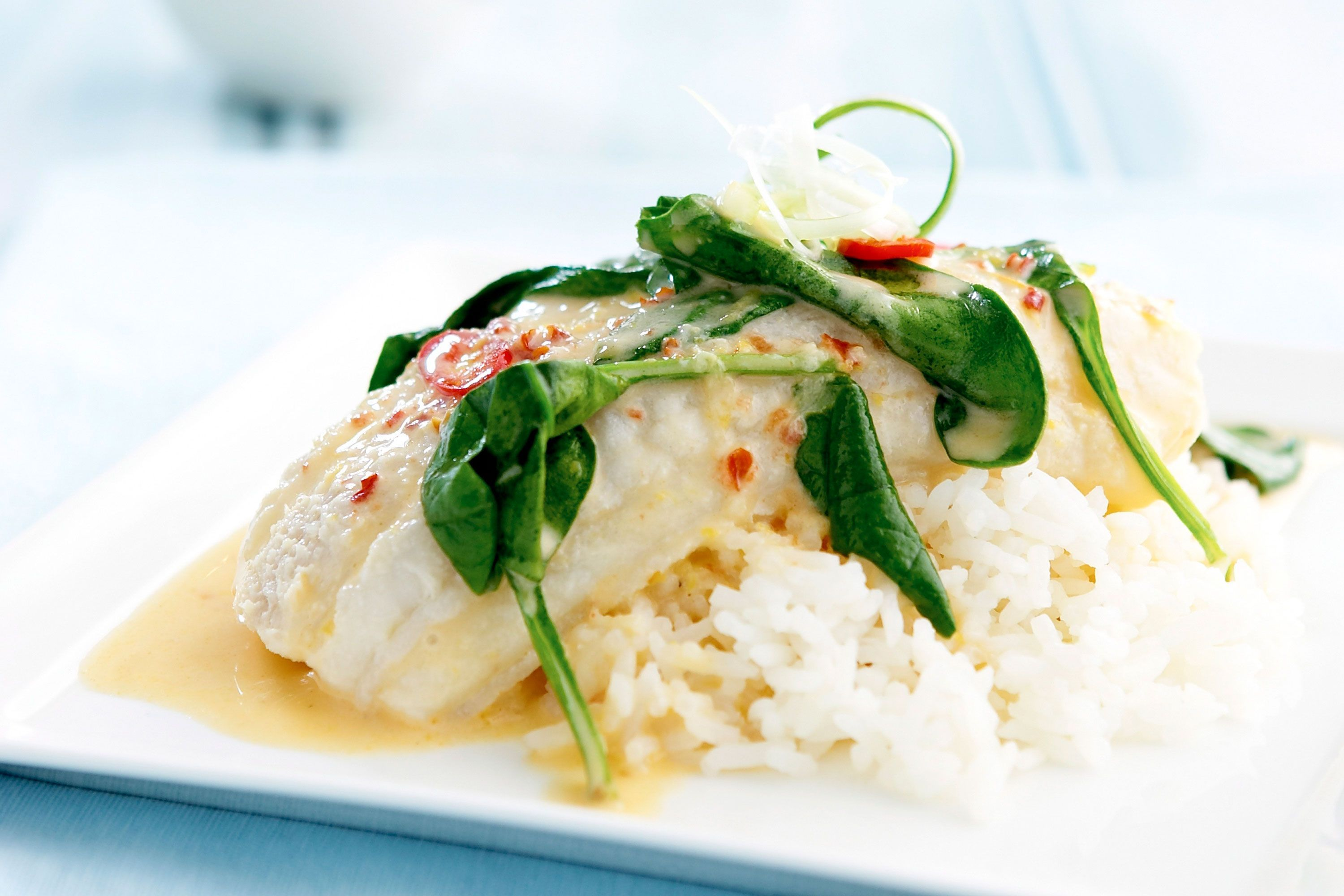 Milk Poached Fish Fillets Coconut