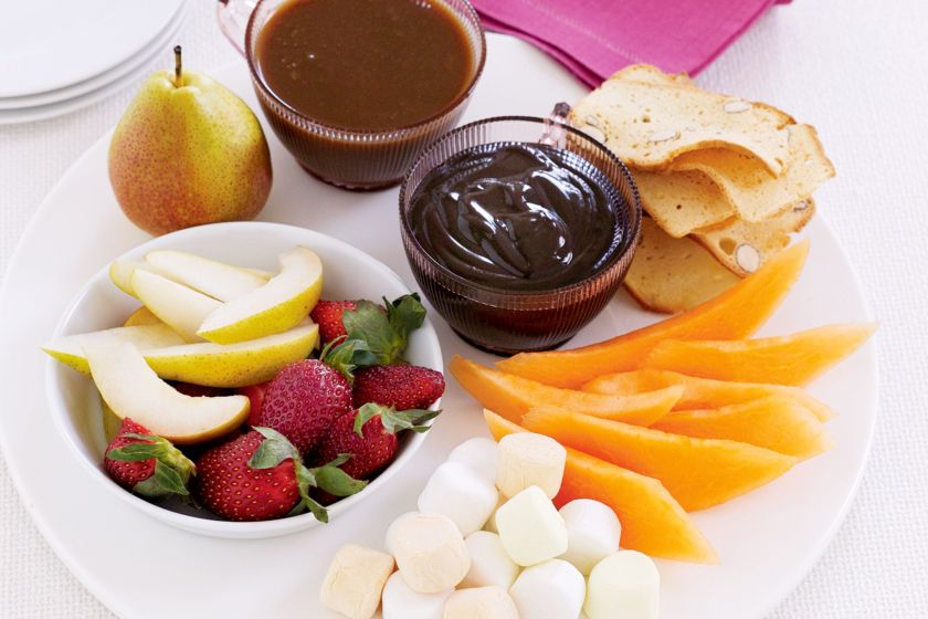 Image result for Chocolate fondue with fruit platter