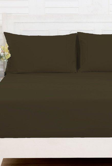 maspar dark brown 100 cotton 200 tc bed sheet set
