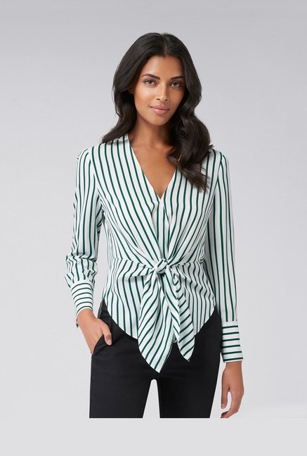 Forever New White & Green Striped Top