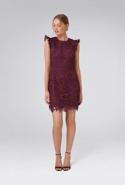 Forever New Berry Lace Mini Dress