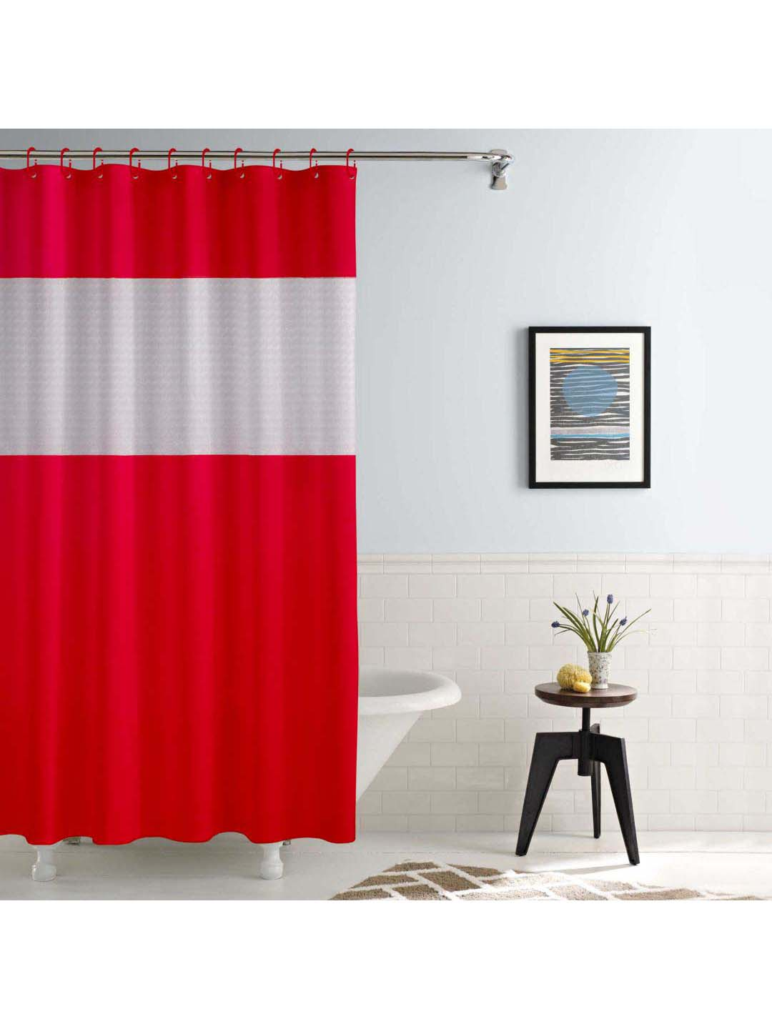 story home red shower curtain set of 1