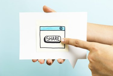 Share button concept on blue background