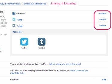 Connect links next to Facebook, Twitter and Tumblr on the Sharing & Extending page.