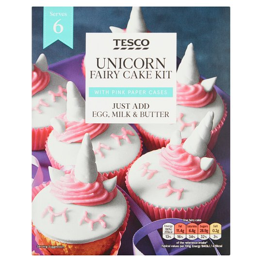 Tesco Unicorn Fairy Cake Kit 265g Tesco Groceries