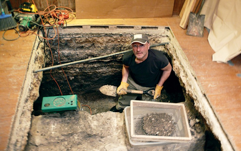 Collins assisting with the dig under the History Shop in early 2008