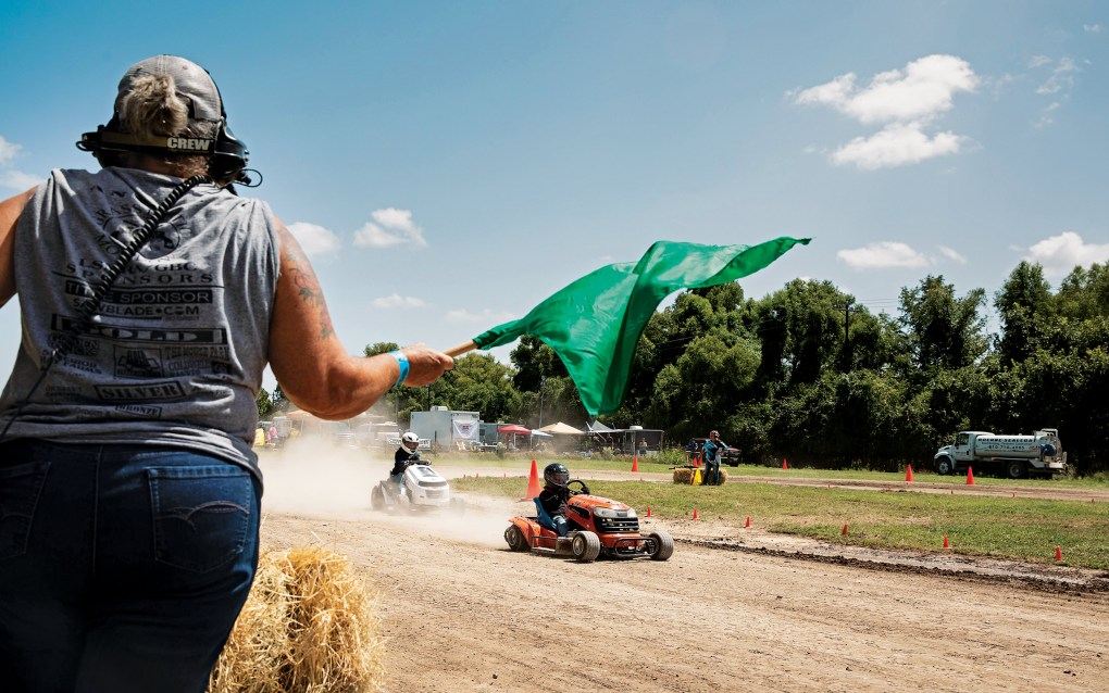 The Lone Star Mower Racing Association lawn mower races at the Kendall County Fairgrounds in Boerne, on September 4, 2021.