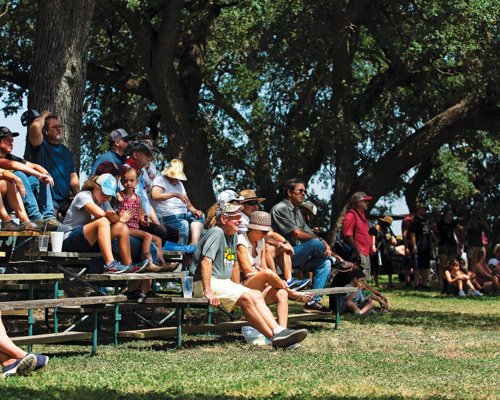 The crowd at the Lone Star Mower Racing Association lawn mower races at the Kendall County Fairgrounds in Boerne, on September 4, 2021.