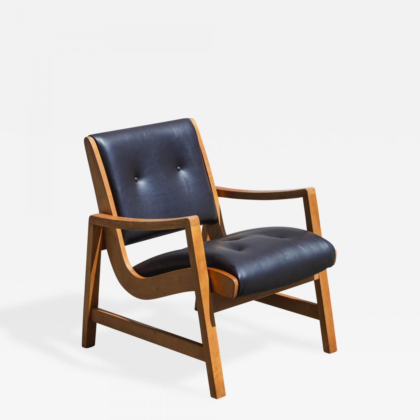 Leather And Wood Chair Jens Risom Beech Wood And Leather Lounge Chair