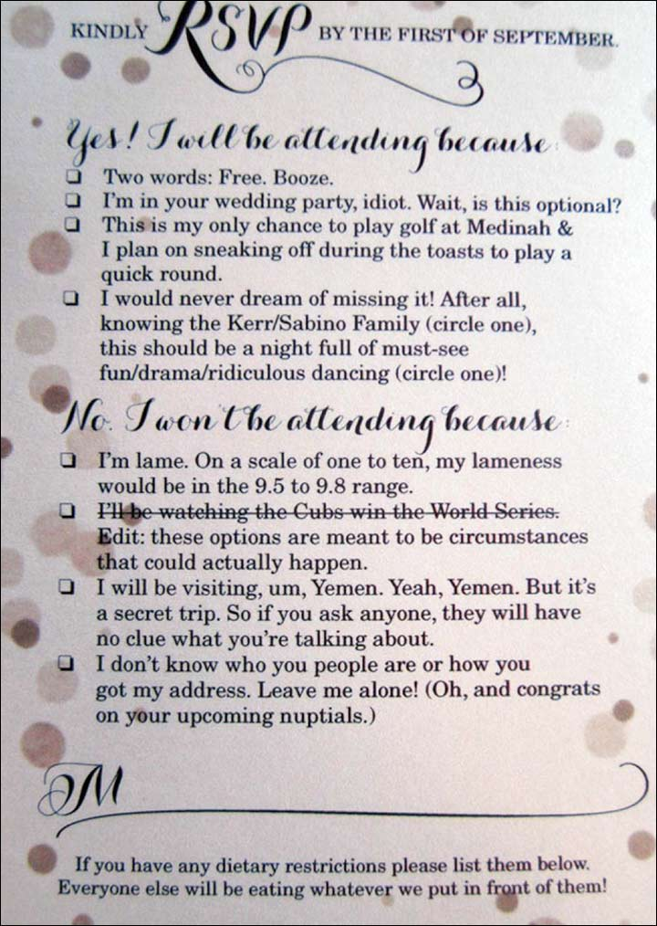 Reason This Clever And Funny Rsvp Card