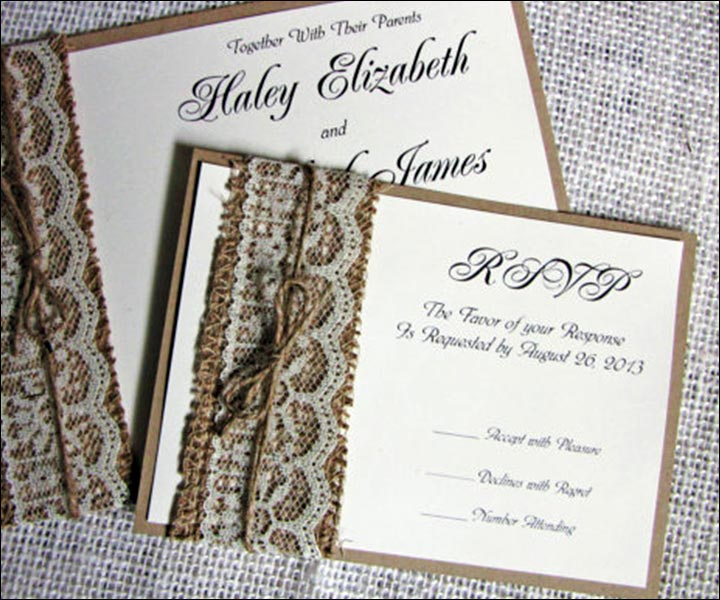 Handmade Wedding Invitations Rustic Burlap Lace