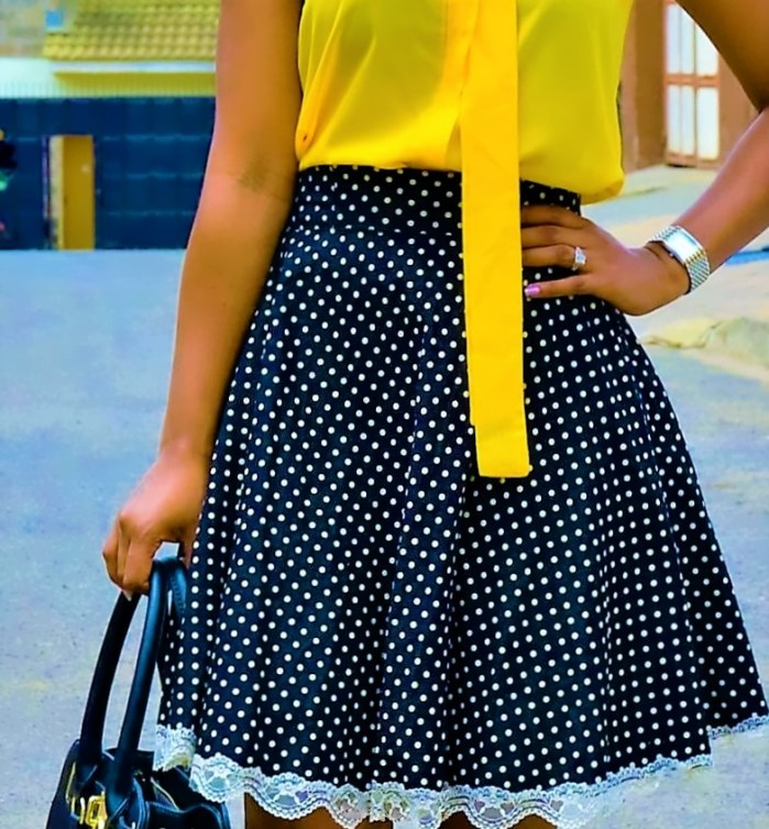 diy polka-dot skirt outfit