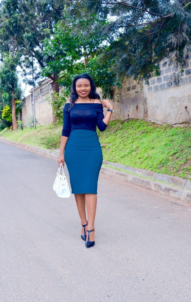 bardot top / off-shoulder top with midi skirt outfit 2