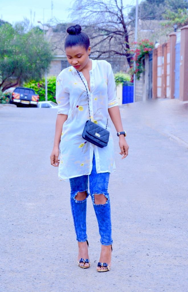shirt dress with distressed denim (1)