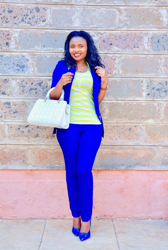 blue pantsuit outfit