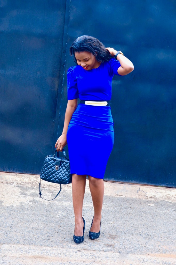 Ruched sleeves blue dress 2