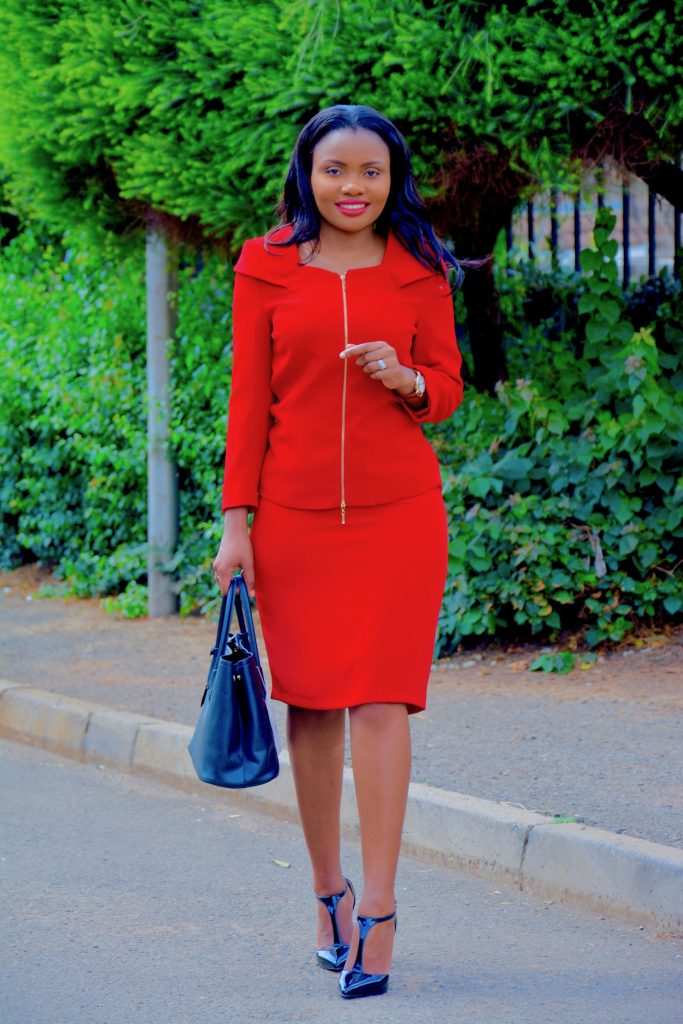Figurestyle boutique red skirt suit
