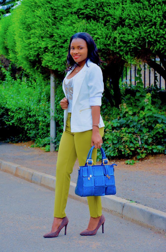 Figurestyle boutique chartreuse pants with cream blazer