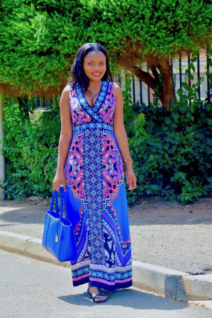 figurestyle boutique blue floral maxi dress