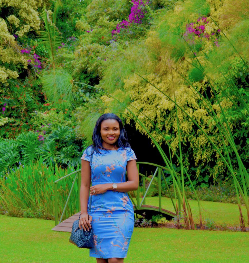 light blue floral tulip dress