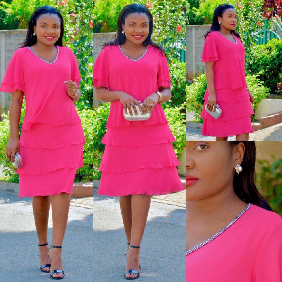 pink holiday dress holiday look