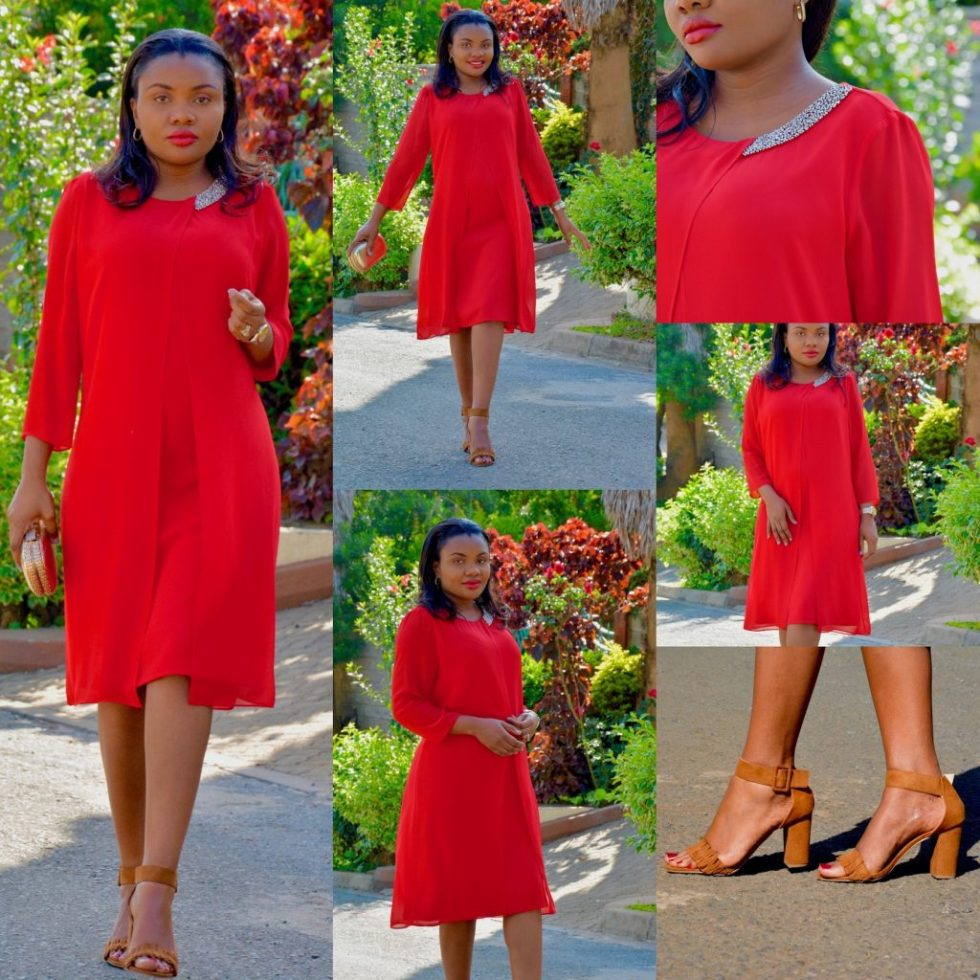 red holiday look dress
