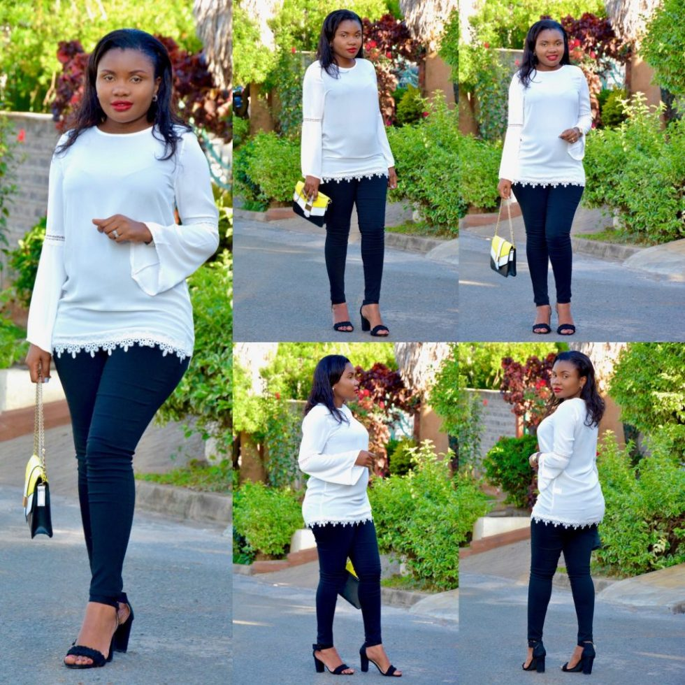 white top black pants holiday look