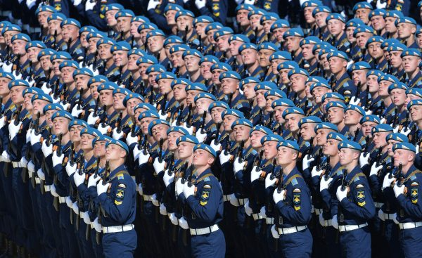 Ceremonial unit soldiers during a military parade in Moscow, Russia, on May 9, 2015. (RIA Novosti via Getty Images)