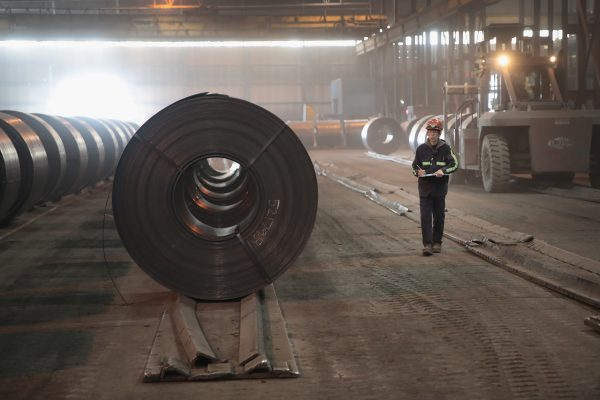 Steel coils produced at the NLMK Indiana steel mill in Portage