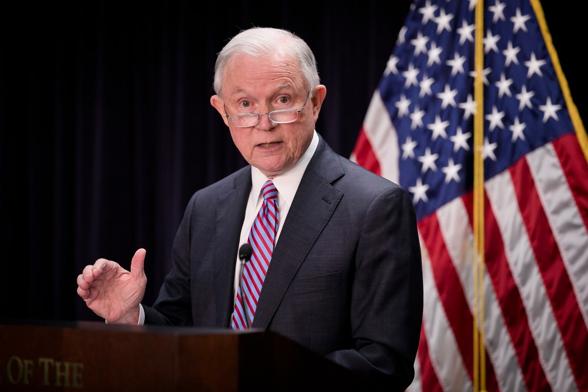 Attorney General Jeff Sessions at a press conference in Baltimore