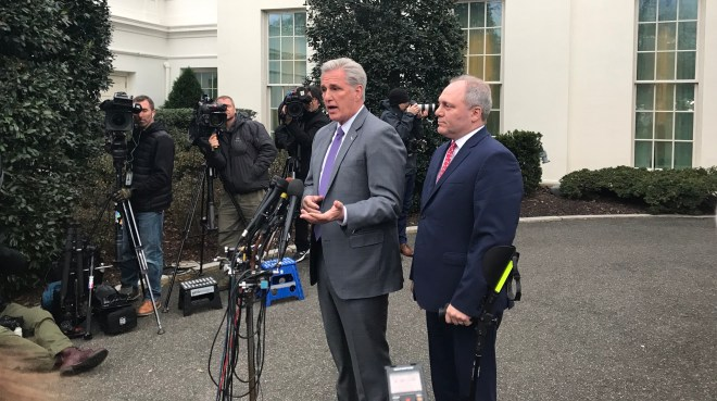 Reps Kevin McCarthy and Steve Scalise talk to media after a White House briefing in Washington