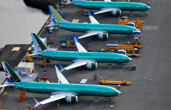 An aerial photo shows Boeing 737 MAX airplanes parked at the Boeing Factory in Renton