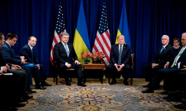 Ukraine's President Petro Poroshenko and U.S. President Donald Trump wait for a meeting at the Palace Hotel during the 72nd United Nations General Assembly Sept. 21, 2017 in New York City. (Brendan Smialowski/AFP/Getty Images)