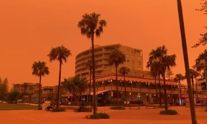 Footage of orange sky as bushfires rage across New South Wales, Australia on Nov. 8, 2019. (via Reuters)