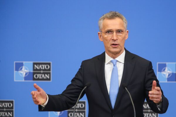 NATO Secretary General Jens Stoltenberg gives a press conference following the North Atlantic Council of Defence Ministers, at the NATO headquarters in Brussels, on February 14, 2019. (François Walschaerts /AFP via Getty Images)