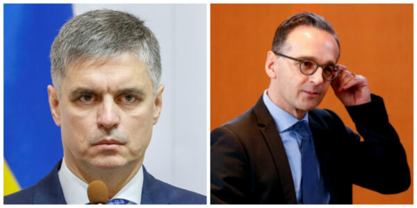 Ukrainian Foreign Minister Vadym Prystaiko (L) attends a news conference in Kiev, Ukraine October 10, 2019. (Valentyn Ogirenko/Reuters/File Photo), German Foreign Minister Heiko Maas (R) attends the weekly cabinet meeting in Berlin, Germany, November 13, 2019. (Fabrizio Bensch/Reuters/File Photo)