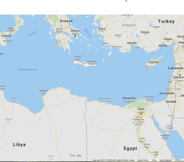 Map showing the Mediterranean Sea surrounded on the east by Greece, Turkey, Egypt, Libya. (Map Data, 2019, ORION-ME, Mapa GiSrael. Google Maps)