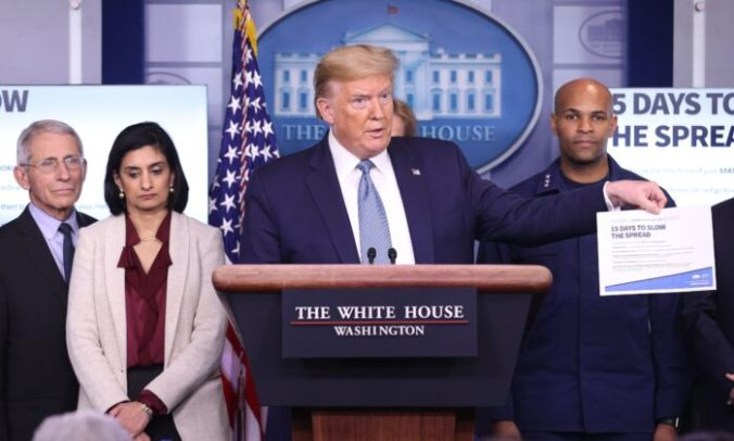 President Donald Trump, flanked by members of the Coronavirus Task Force, speaks to the media in the press briefing room at the White House on March 16, 2020. (Win McNamee/Getty Images)