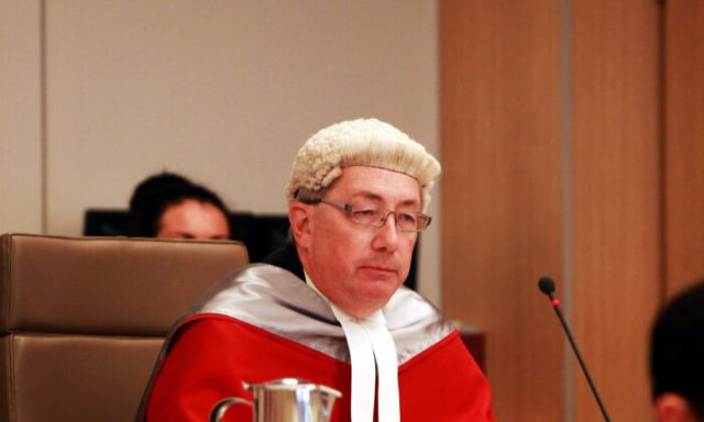 Justice Peter Garling presides over the court as Jeffrey Gilham is acquitted for the murder of his parents at the Supreme Court on June 25, 2012 in Sydney, Australia.(Nic Gibson - Pool/Getty Images)