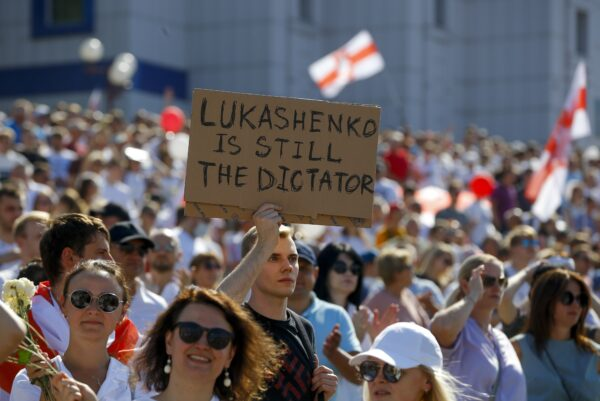 Belarusian opposition supporters rally in the center of Minsk