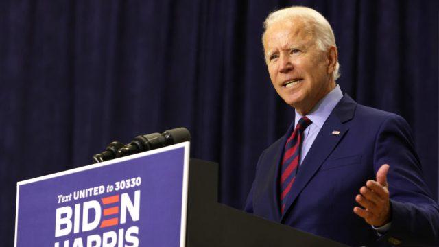 Joe Biden speaks during a campaign