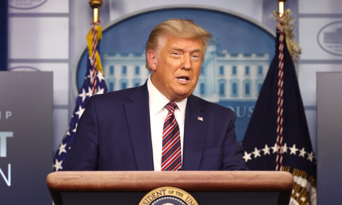 President Donald Trump speaks to the press in the James Brady Press Briefing Room at the White House in Washington on Nov. 20, 2020. (Tasos Katopodis/Getty Images)