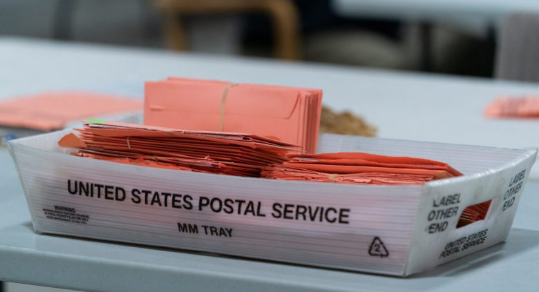 Provisional ballots are seen in a postal service